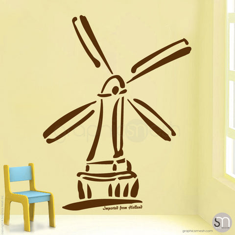 HOLLAND WINDMILL Imported From Holland quote -  Wall decals brown