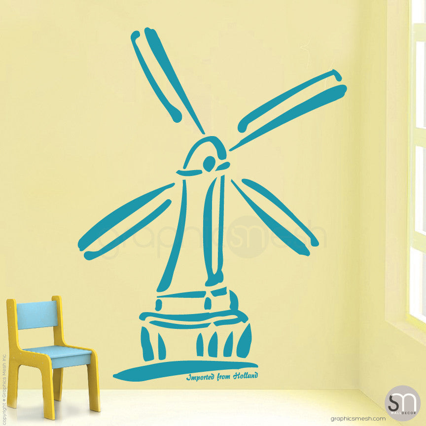HOLLAND WINDMILL Imported From Holland quote -  Wall decals teal