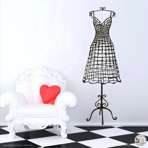WIRE DRESS FORM decorative mannequin - Wall decals black