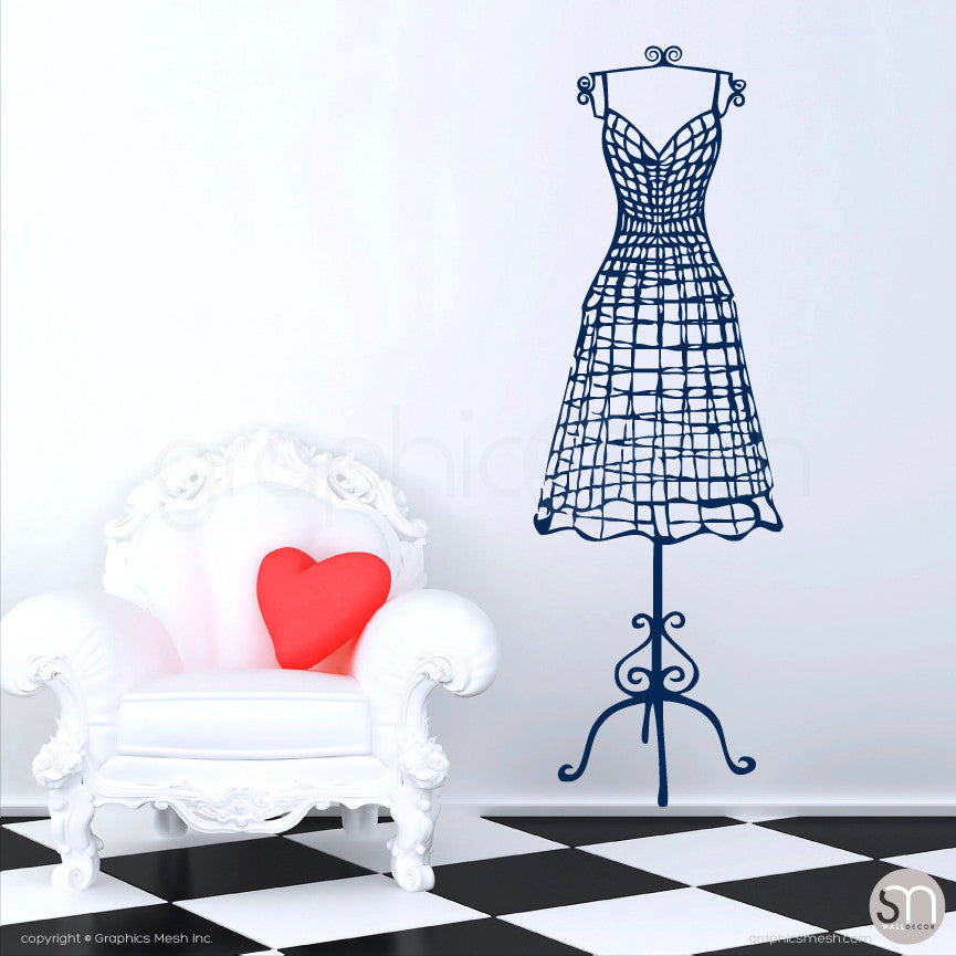 WIRE DRESS FORM decorative mannequin - Wall decals navy