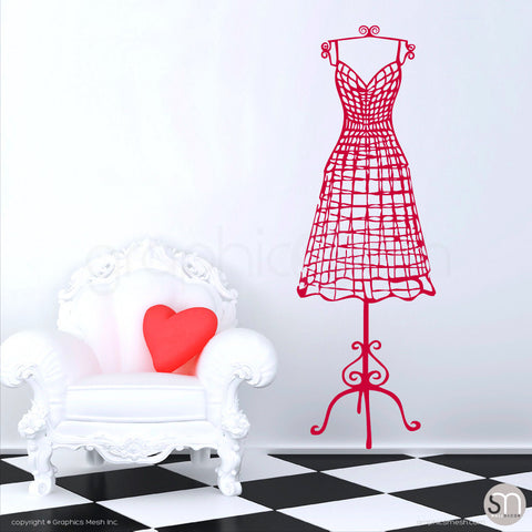 WIRE DRESS FORM decorative mannequin - Wall decals red