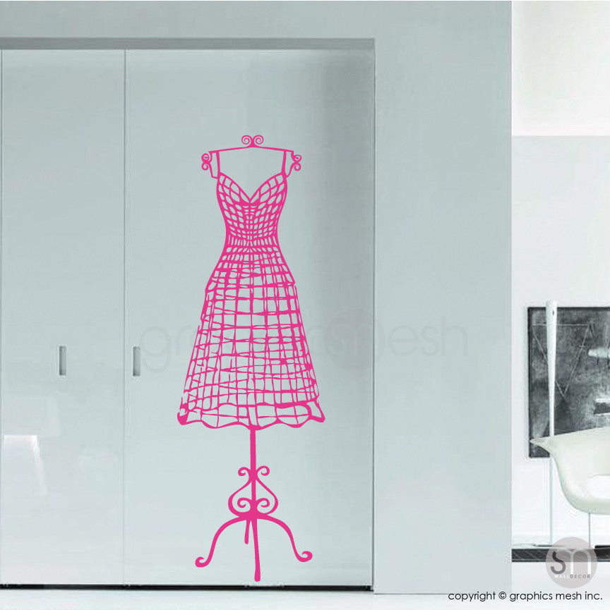 WIRE DRESS FORM decorative mannequin - Wall decals hot pink