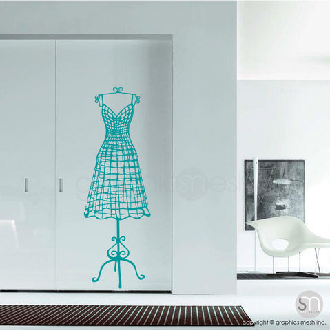 WIRE DRESS FORM decorative mannequin - Wall decals turquoise