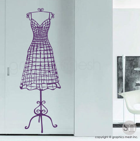 WIRE DRESS FORM decorative mannequin - Wall decals violet