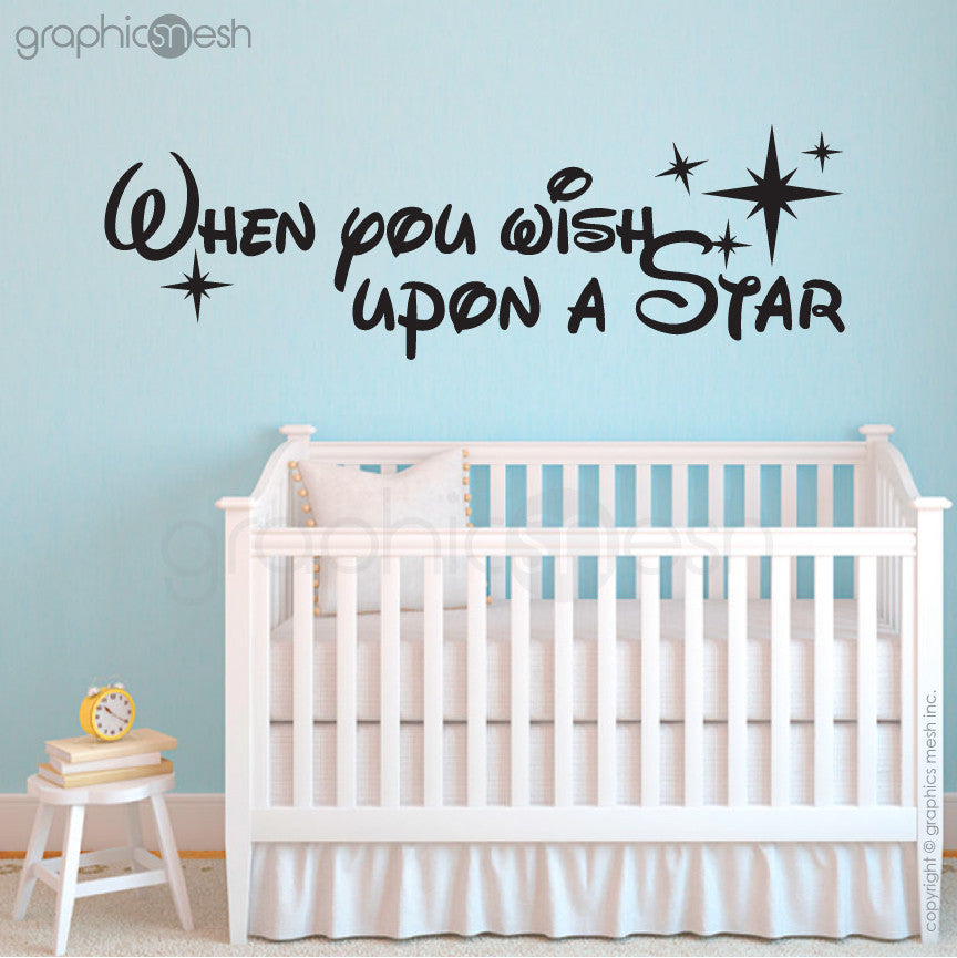 """WHEN YOU WISH UPON A STAR"" - Quote Wall decals black"