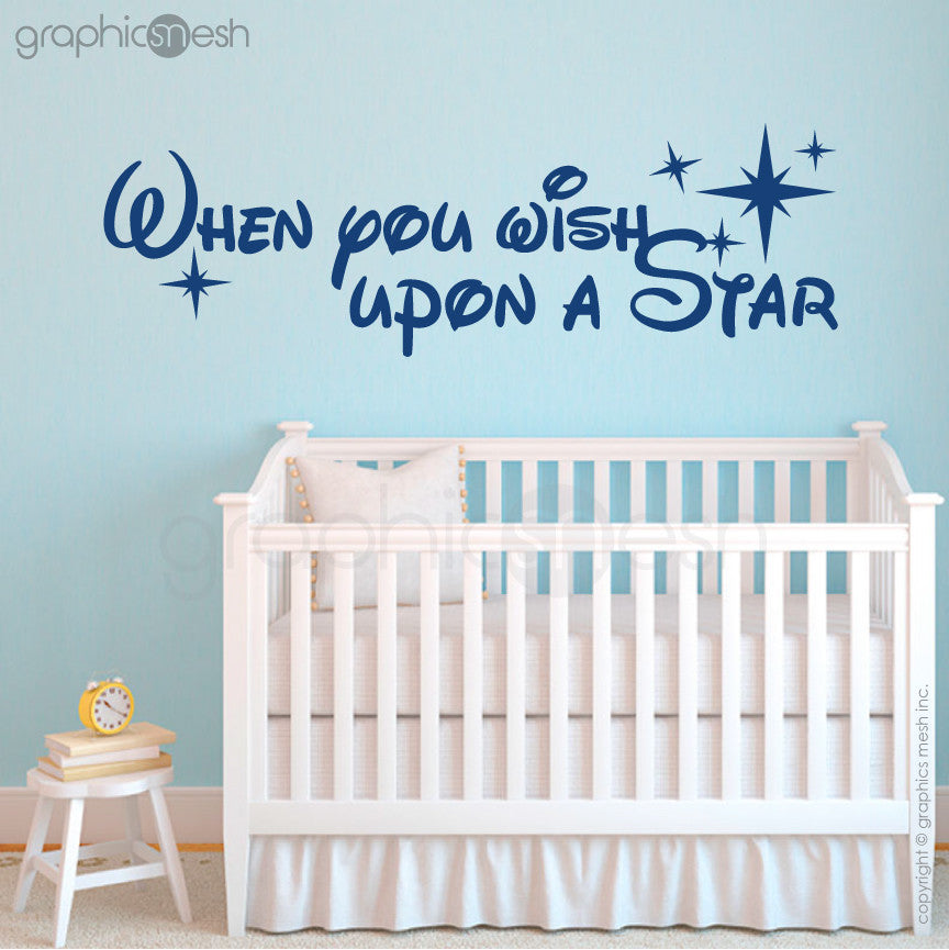 """WHEN YOU WISH UPON A STAR"" - Quote Wall decals navy"