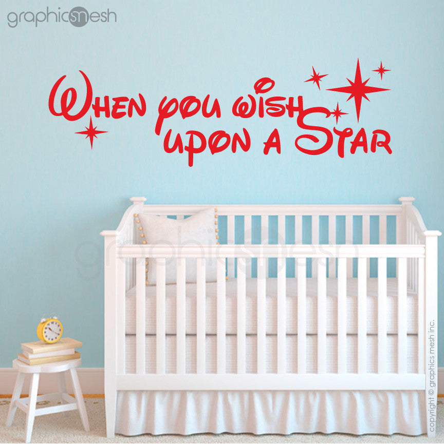 """WHEN YOU WISH UPON A STAR"" - Quote Wall decals red"