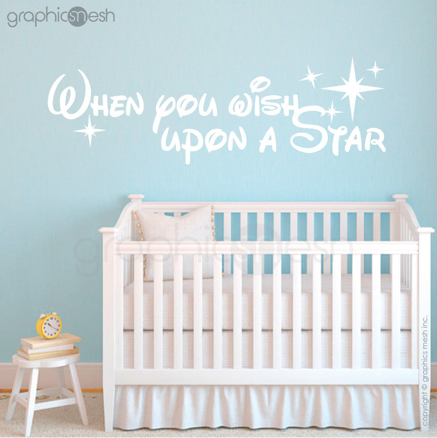 """WHEN YOU WISH UPON A STAR"" - Quote Wall decals white"