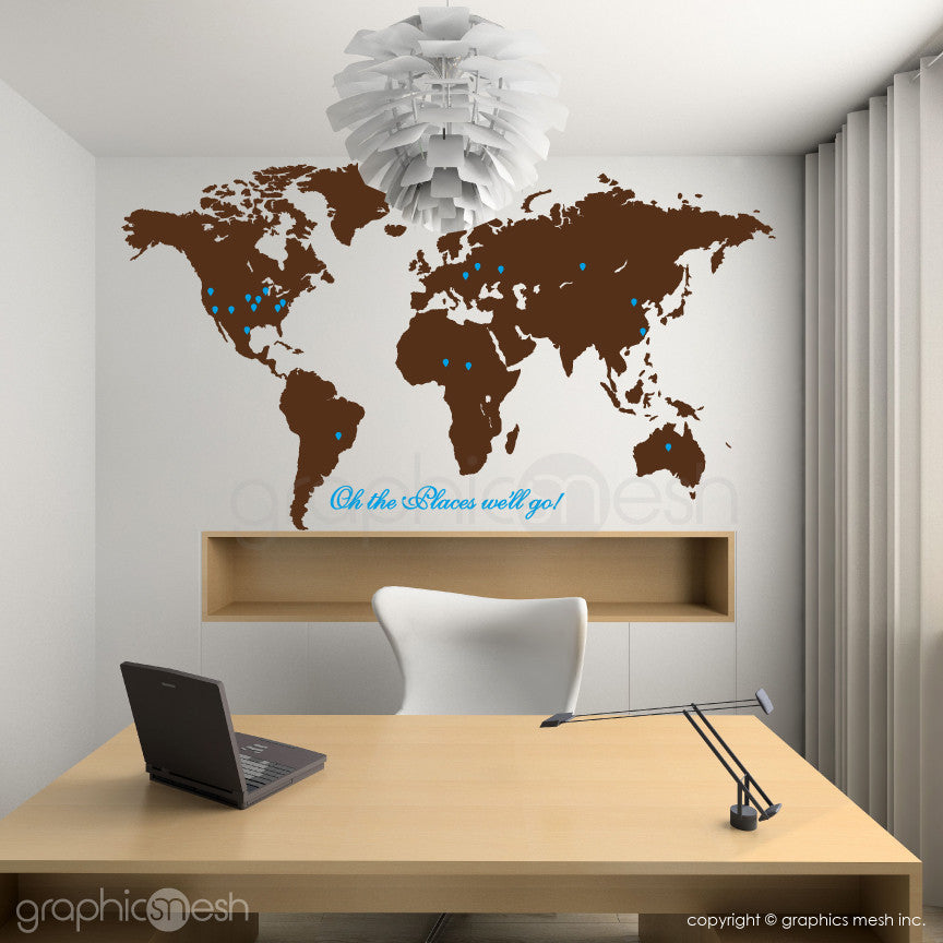 """Oh the places we'll go"" World Map with Pins - Wall decals brown and blue"
