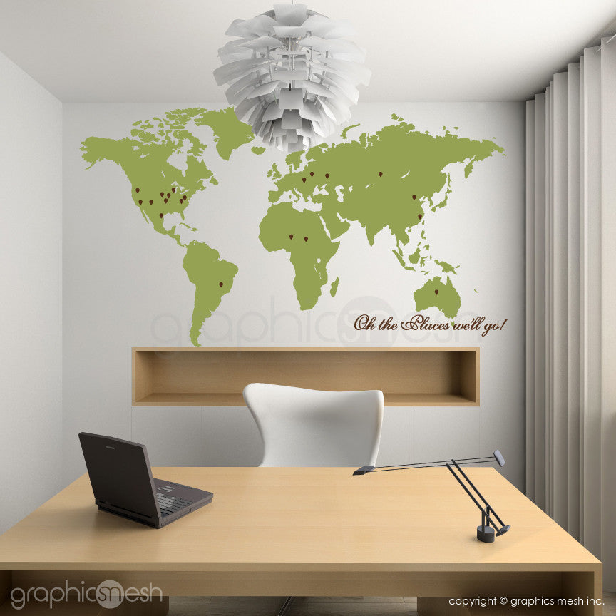 """Oh the places we'll go"" World Map with Pins - Wall decals olive"