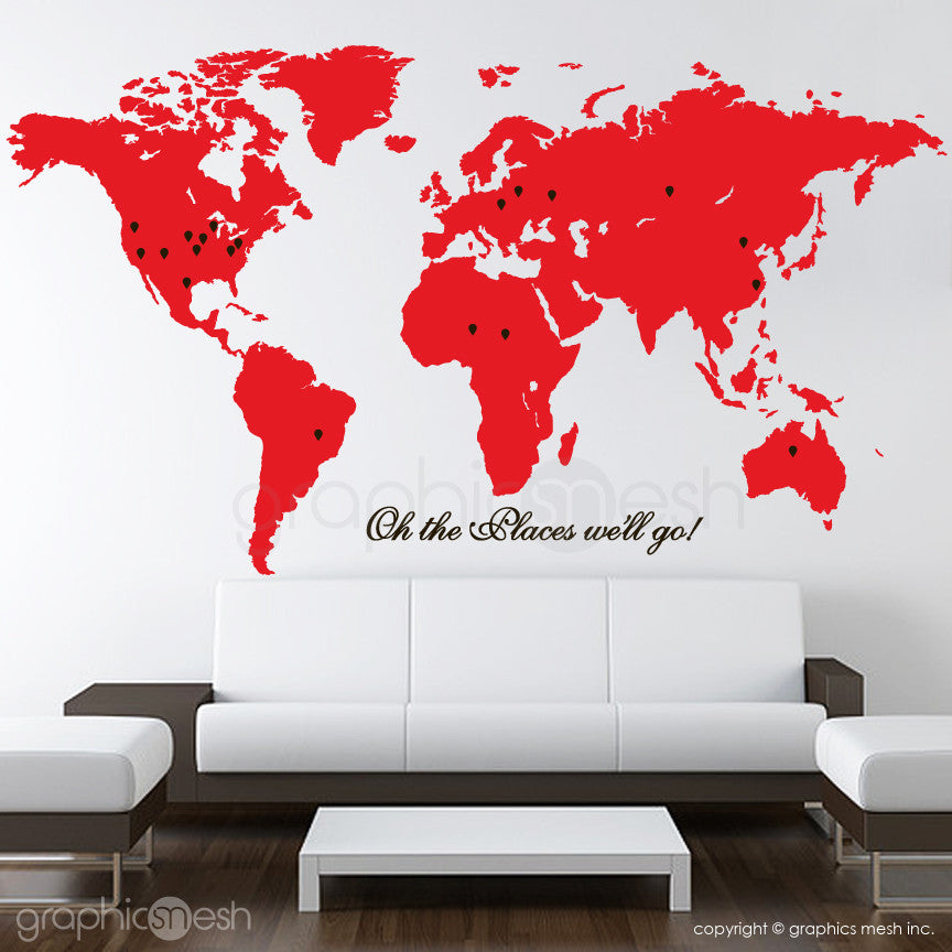 """Oh the places we'll go"" World Map with Pins - Wall decals red and black"