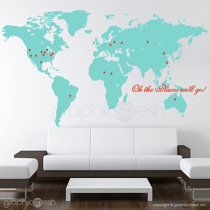 Cool world map with pins and quote oh the places well go oh the places well go world map with pins wall decals gumiabroncs Choice Image