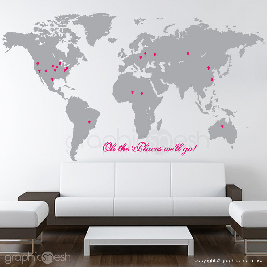 """Oh the places we'll go"" World Map with Pins - Wall decals grey and pink"
