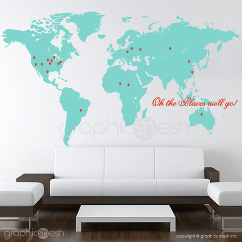 """Oh the places we'll go"" World Map with Pins - Wall decals aqua and red"
