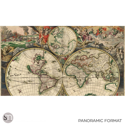 ANTIQUE MAP OF WORLD 1689 - Wall Mural panoramic