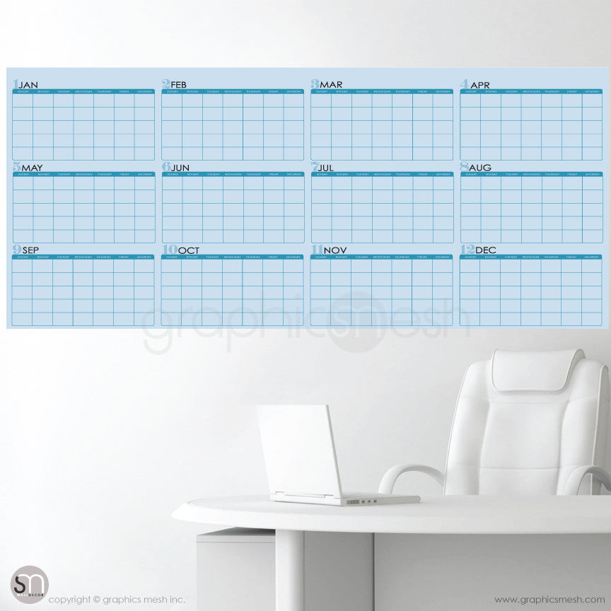 YEARLY BLANK CALENDAR - 26x60 inches - DRY ERASE