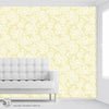 Floral Embroidery in Mellow Yellow - Peel & Stick Abstract Wallpaper