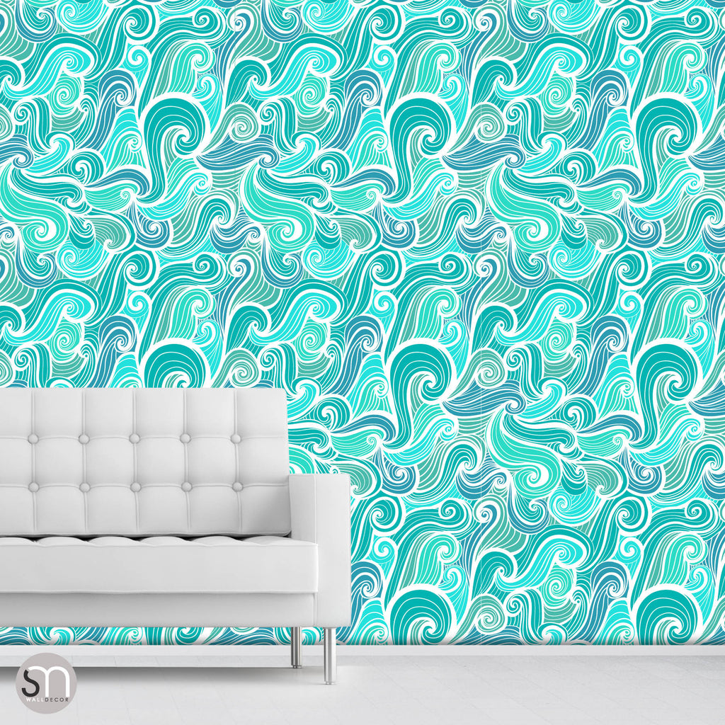AQUA ABSTRACT WAVES - Peel & Stick Wallpaper