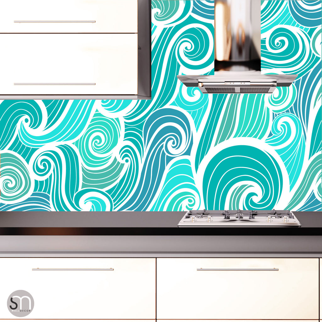 AQUA ABSTRACT WAVES - Peel & Stick Wallpaper kitchen