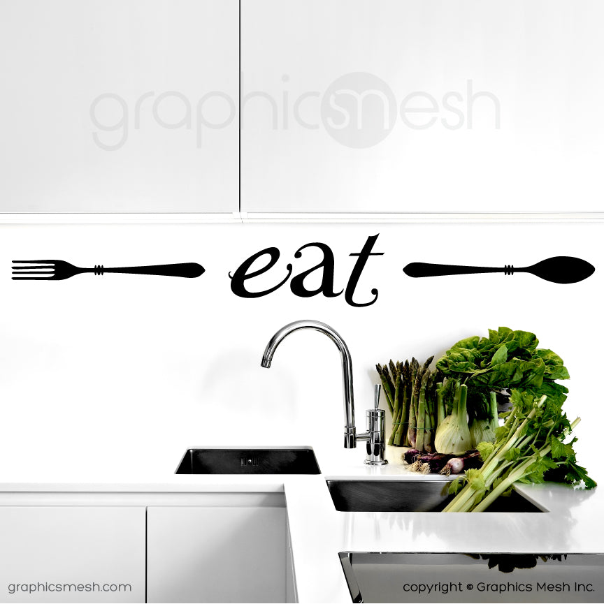 "FORK ""EAT"" SPOON  Wall decals for Kitchen & Dining"