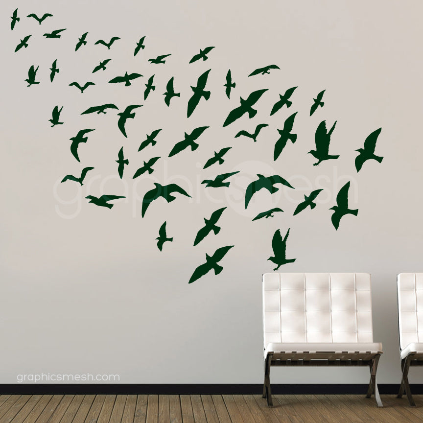 flock of birds set of 47 black