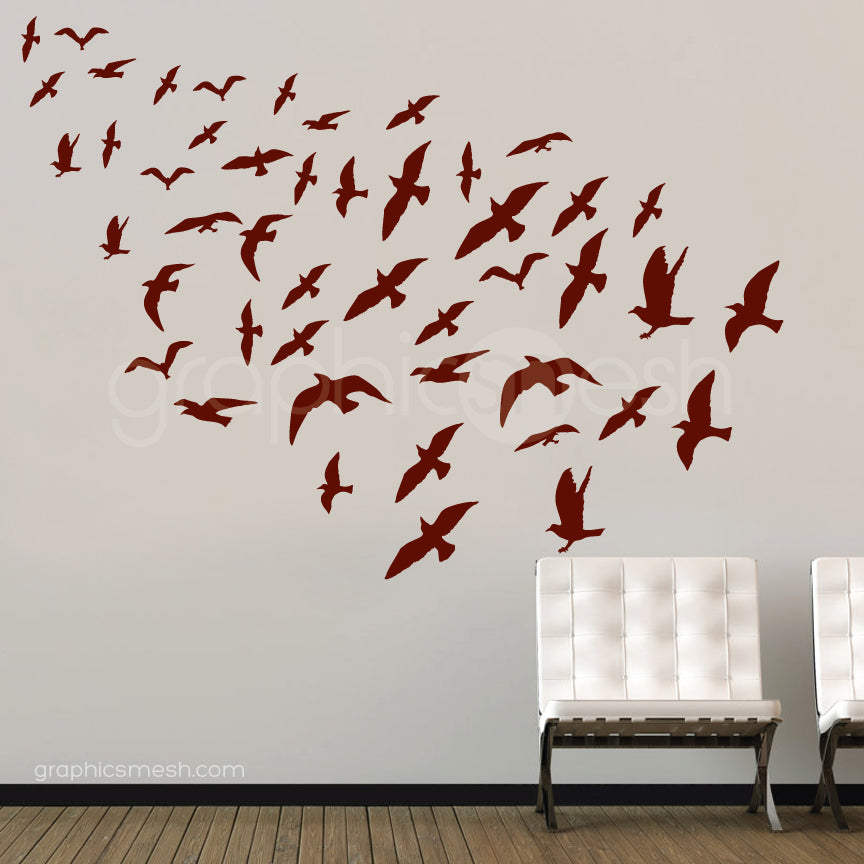 flock of birds set of 47 brown