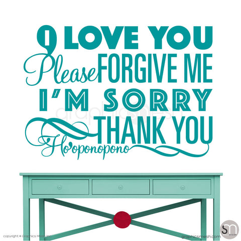 Ho'oponopono - Quote Wall decals teal
