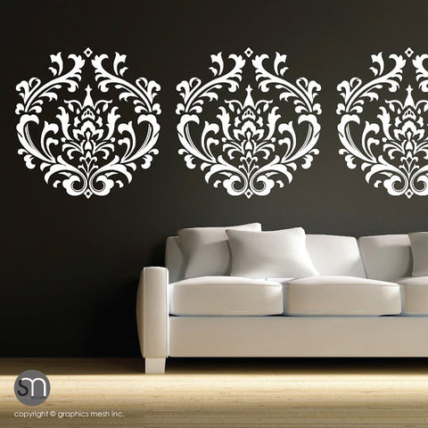 Damask shape wall decal by Graphics Mesh white