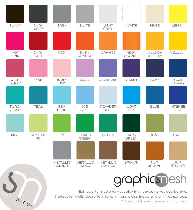 Removable wall decals color chart