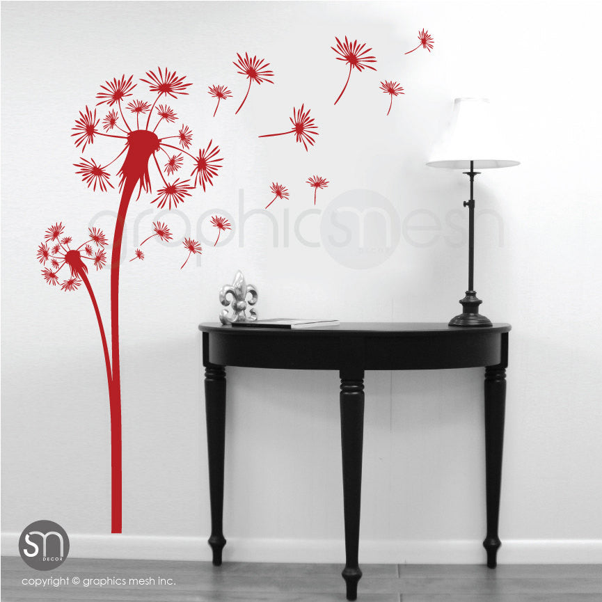 DANDELION with blowing in the wind seeds wall decals red