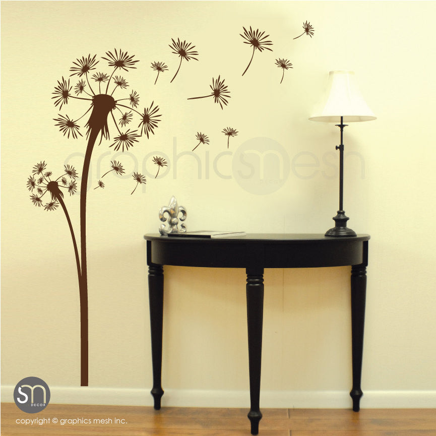 DANDELION with blowing in the wind seeds wall decals brown