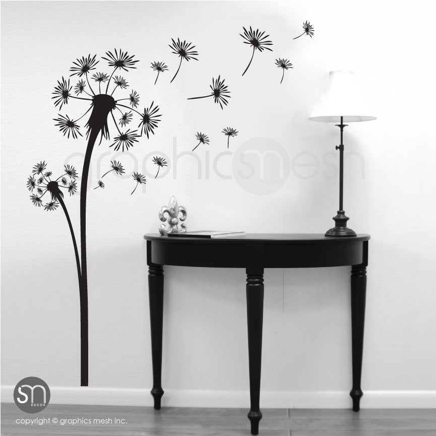 DANDELION with blowing in the wind seeds wall decals black