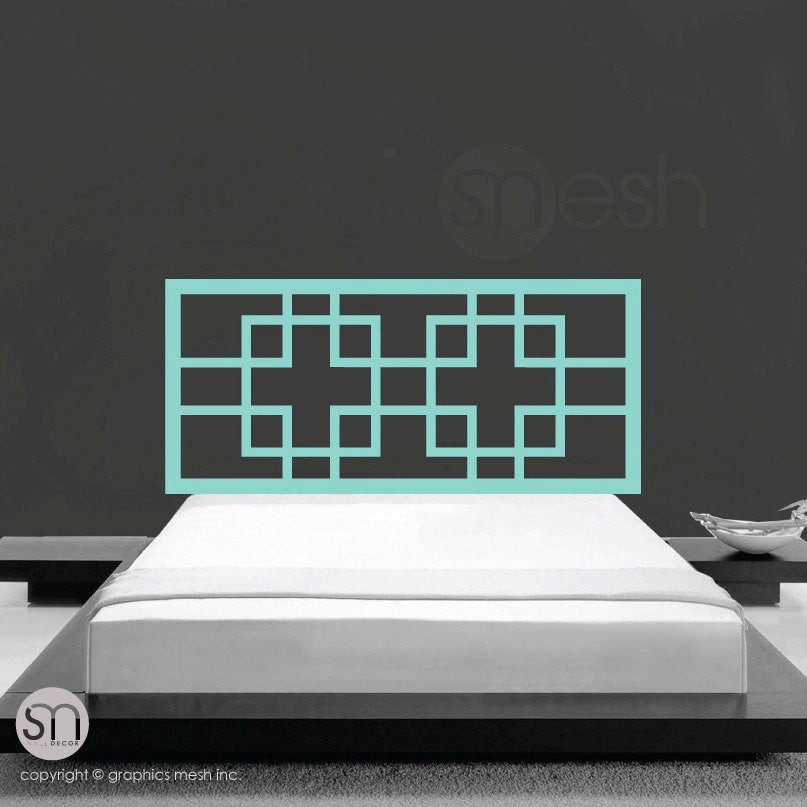 OVERLAPPING SQUARES HEADBOARD WALL DECAL mint
