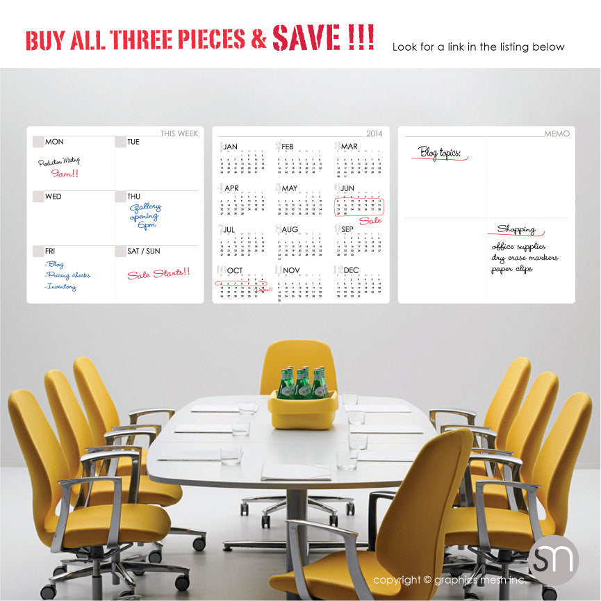 Dry Erase Calendar Decal Set of three