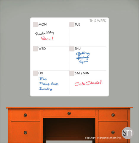 WEEKLY CALENDAR DRY ERASE WALL DECAL - MOD COLLECTION