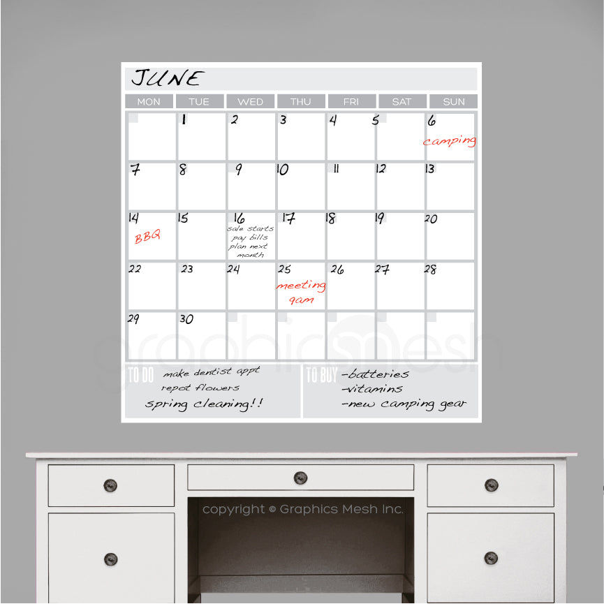 MONTH AT A GLANCE WITH TO DO & TO BUY - DRY ERASE CALENDAR
