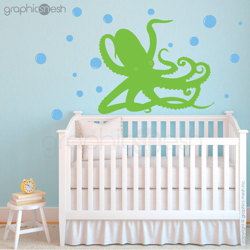 OCTOPUS UNDERWATER WITH BUBBLES - lime wall decals