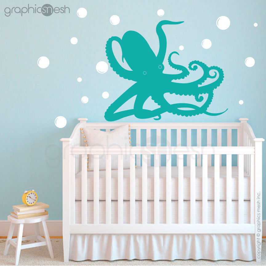 OCTOPUS UNDERWATER WITH BUBBLES - aqua wall decals