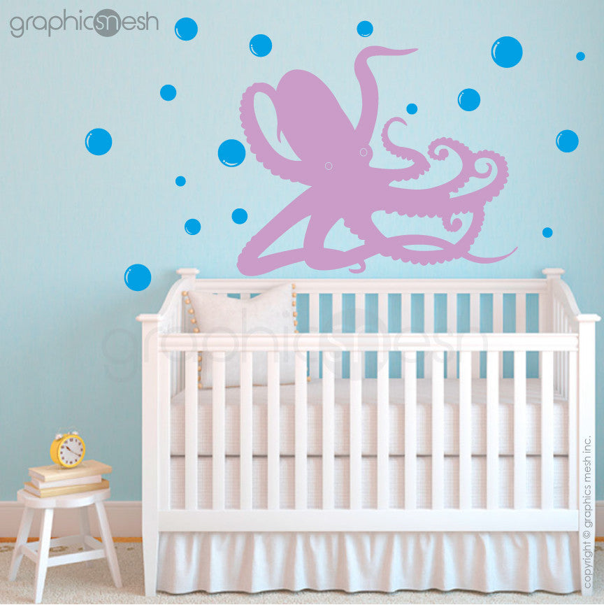 OCTOPUS UNDERWATER WITH BUBBLES - lavender wall decals