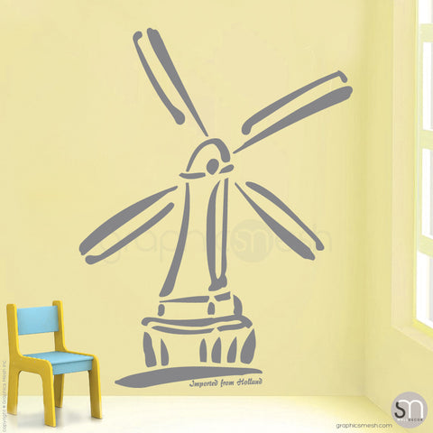 HOLLAND WINDMILL Imported From Holland quote -  Wall decals grey