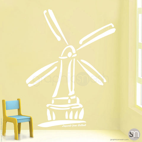 HOLLAND WINDMILL Imported From Holland quote -  Wall decals white
