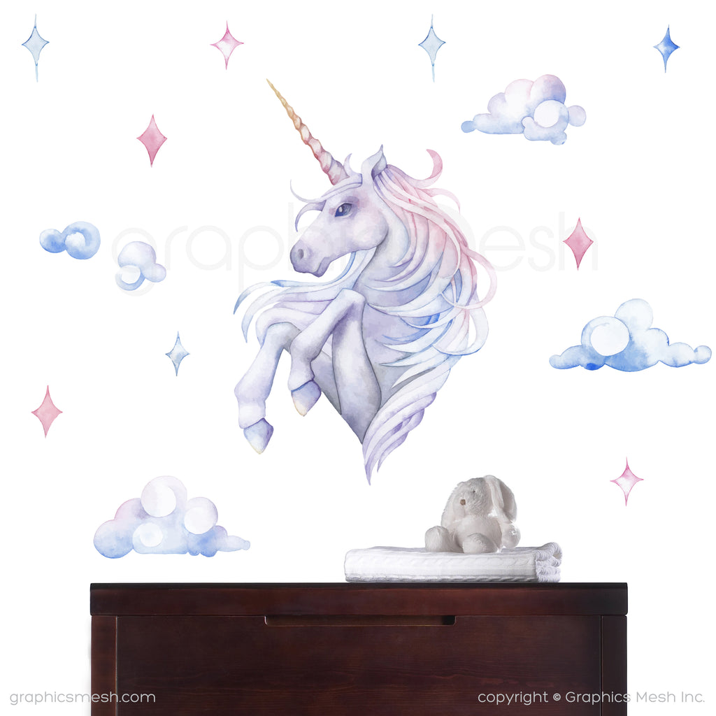 UNICORN WATERCOLOR PRINT - wall decals