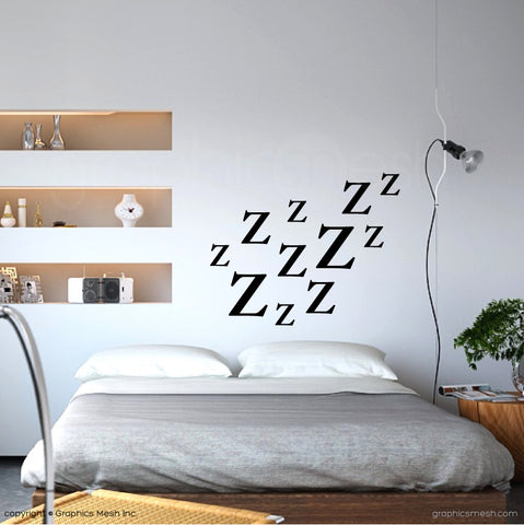 Zzz LETTERING WALL DECALS in black