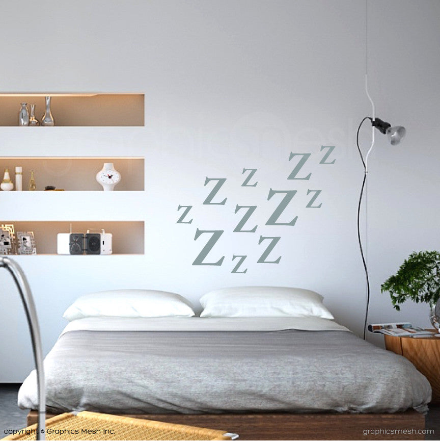 Zzz LETTERING WALL DECALS in slate color