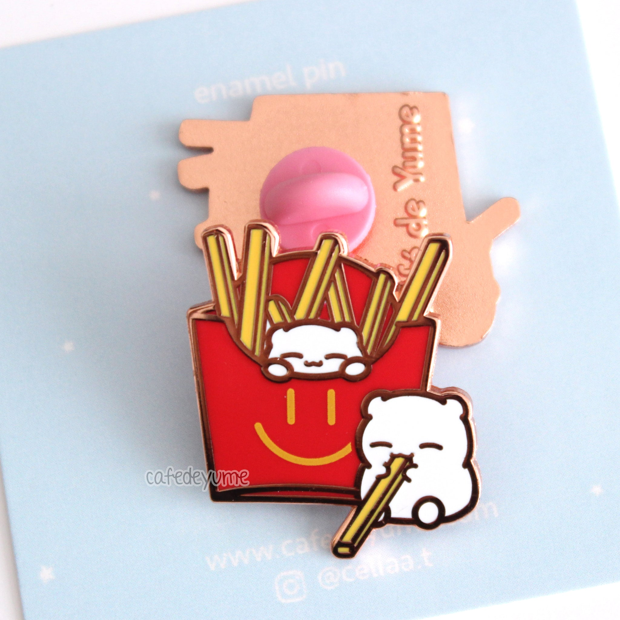 beary fries enamel pin