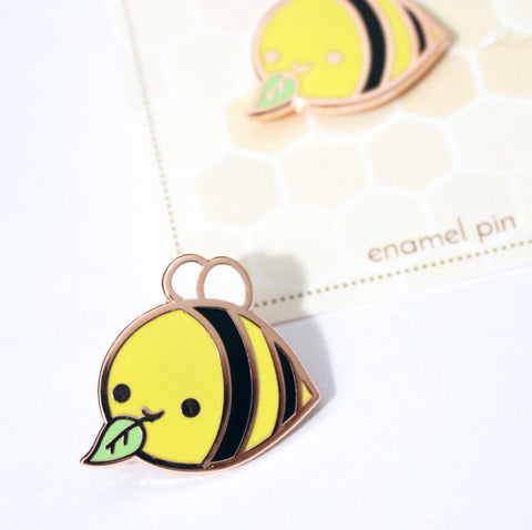 bee leaf enamel pin