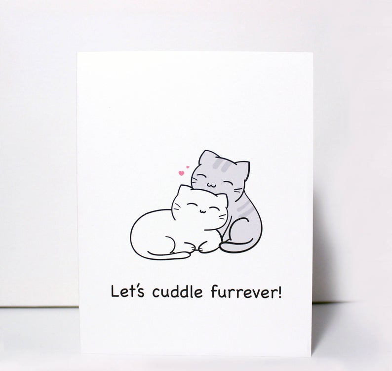 lets cuddle furrever greeting card