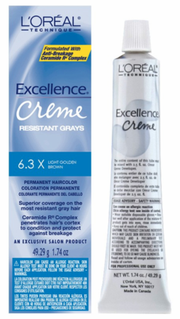 L'Oreal Excellence Creme Resistant Gray Permanent Hair Color 6.3X Light Golden Brown