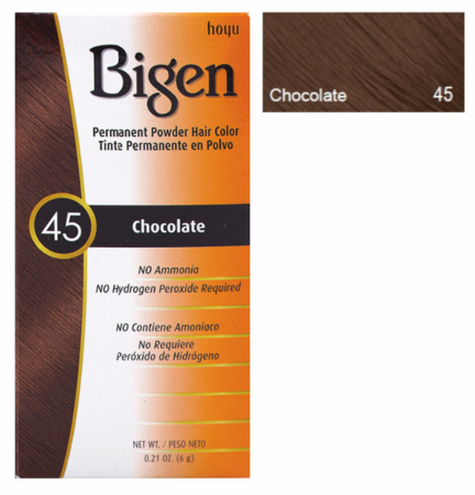 Bigen Permanent Powder Hair Color 45 Chocolate 0.21 oz