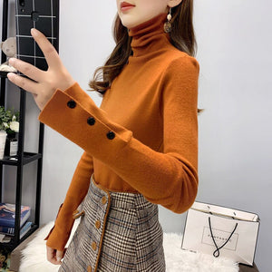 Autumn Winter 2020 Long Sleeve Turtlenec Knitted Pullover Sweater Women Korean Slim-Fit Tight Sweater